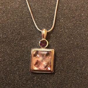 Lia Sophia Silver Gold Purple Pendant Necklace